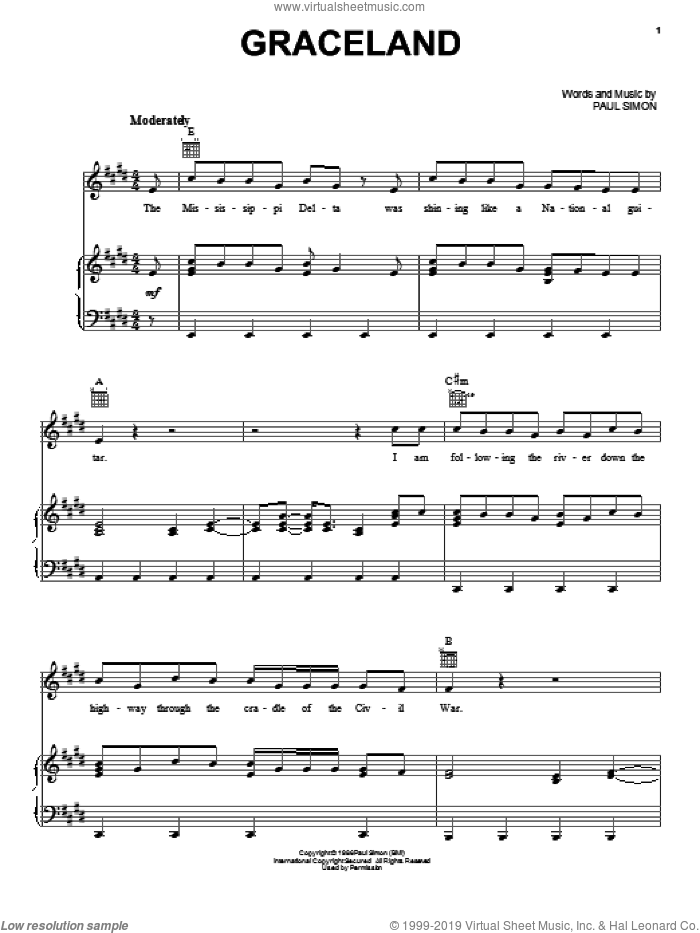 Graceland sheet music for voice, piano or guitar by Paul Simon, intermediate