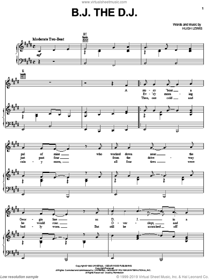 B.J. The D.J. sheet music for voice, piano or guitar by Hugh Lewis. Score Image Preview.