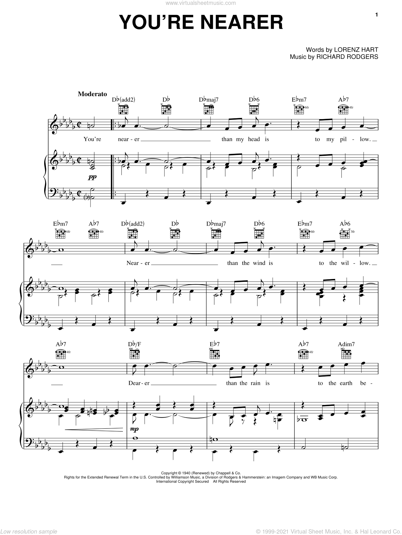 You're Nearer sheet music for voice, piano or guitar by Rodgers & Hart, Lorenz Hart and Richard Rodgers. Score Image Preview.