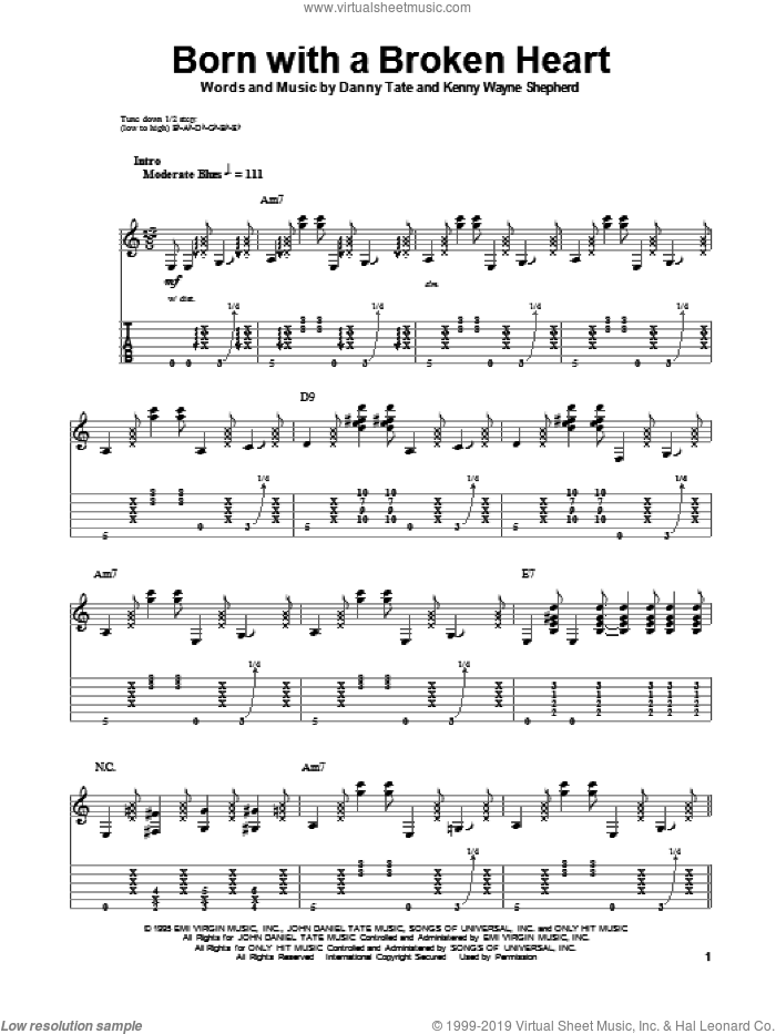 Born With A Broken Heart sheet music for guitar (tablature, play-along) by Danny Tate and Kenny Wayne Shepherd. Score Image Preview.
