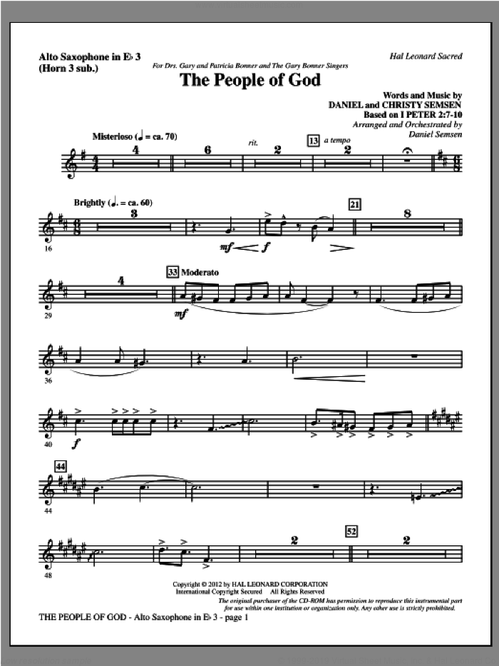 The People Of God sheet music for orchestra/band (alto sax 3, sub. horn 3) by Daniel Semsen