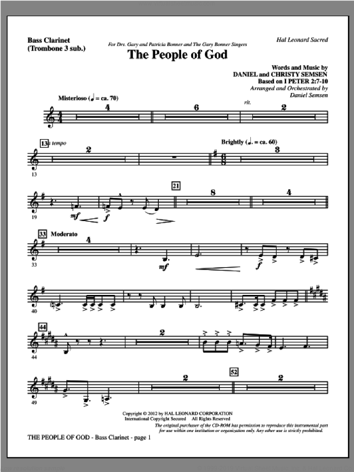 The People Of God sheet music for orchestra/band (bass clarinet, sub. tbn 3) by Daniel Semsen