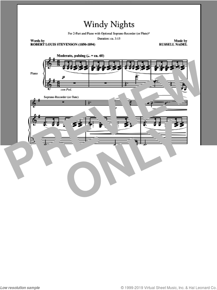 Windy Nights sheet music for choir (2-Part) by Russell Nadel, intermediate duet