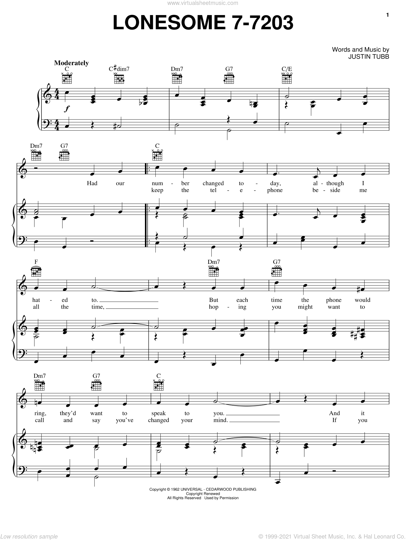 Lonesome 7-7203 sheet music for voice, piano or guitar by Hawkshaw Hawkins and Justin Tubb, intermediate skill level