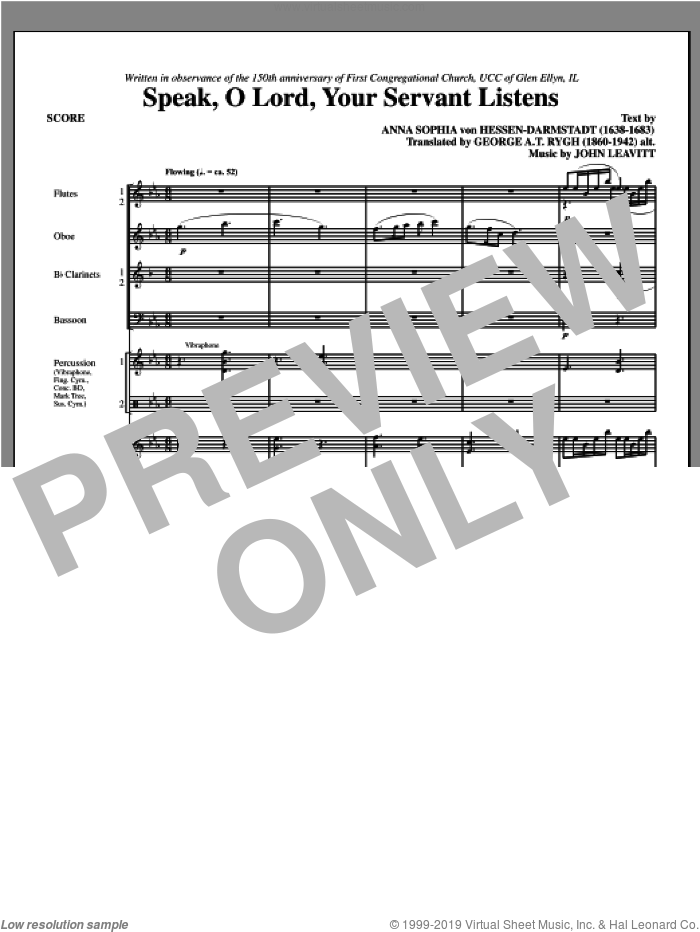 Speak, O Lord, Your Servant Listens (complete set of parts) sheet music for orchestra/band (chamber ensemble) by John Leavitt, intermediate. Score Image Preview.