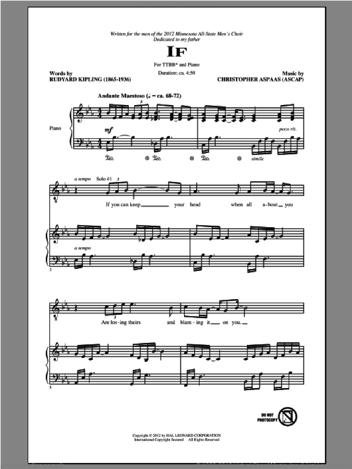If sheet music for choir (tenor voice, bass voice, choir) by Christopher Aspaas. Score Image Preview.