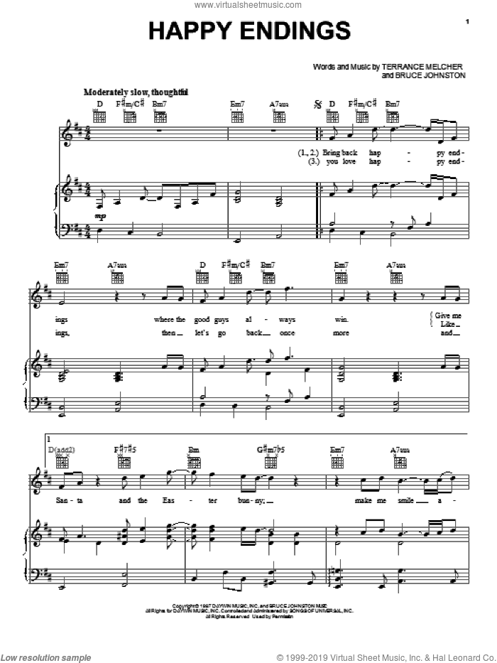 Happy Endings sheet music for voice, piano or guitar by Terrance Melcher, Bruce Johnston and Doris Day. Score Image Preview.