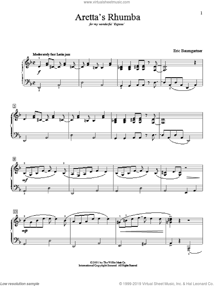 Aretta's Rhumba sheet music for piano solo (elementary) by Eric Baumgartner. Score Image Preview.