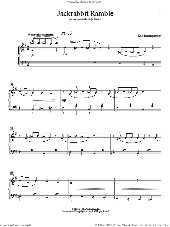 Jackrabbit Ramble sheet music for piano solo (elementary) by Eric Baumgartner. Score Image Preview.
