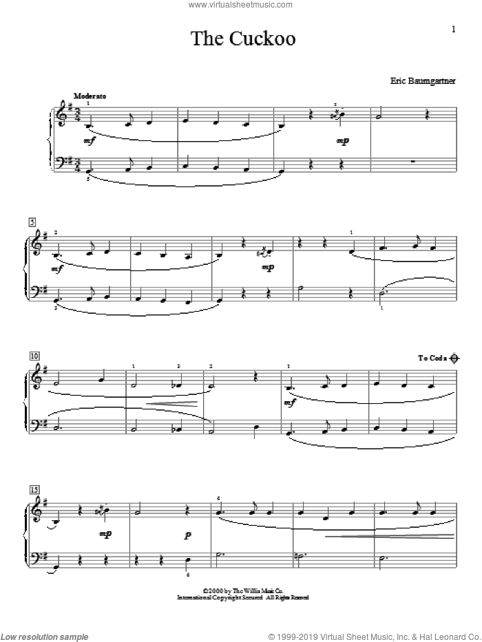 The Cuckoo sheet music for piano solo (elementary) by Eric Baumgartner, beginner piano (elementary). Score Image Preview.