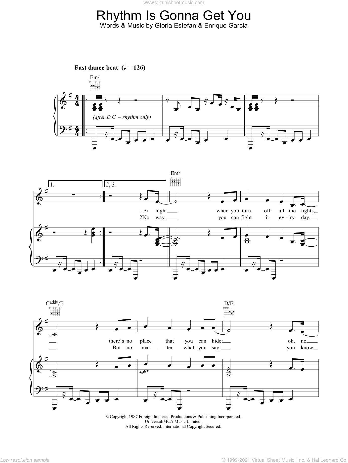 Rhythm Is Gonna Get You sheet music for voice, piano or guitar by Enrique Garcia and Gloria Estefan. Score Image Preview.