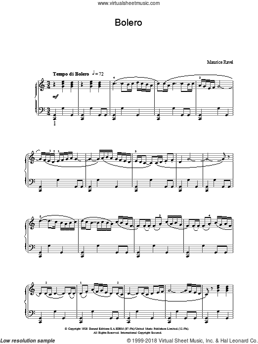 Ravel's Bolero sheet music for piano solo by Maurice Ravel, classical score, intermediate skill level