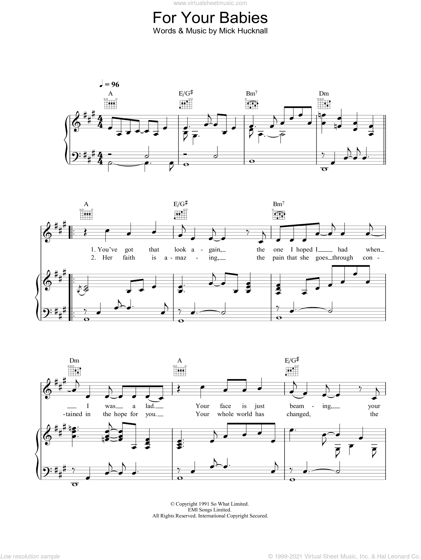 For Your Babies sheet music for voice, piano or guitar by Simply Red and Mick Hucknall, intermediate. Score Image Preview.