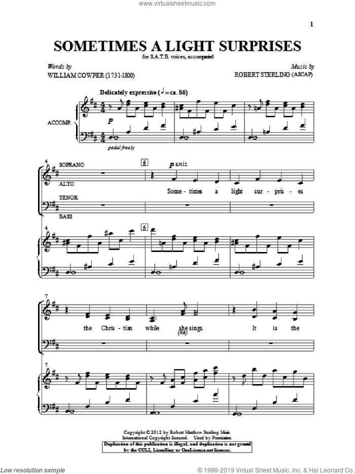 Sometimes A Light Surprises sheet music for choir and piano (SATB) by Robert Sterling and William Cowper. Score Image Preview.