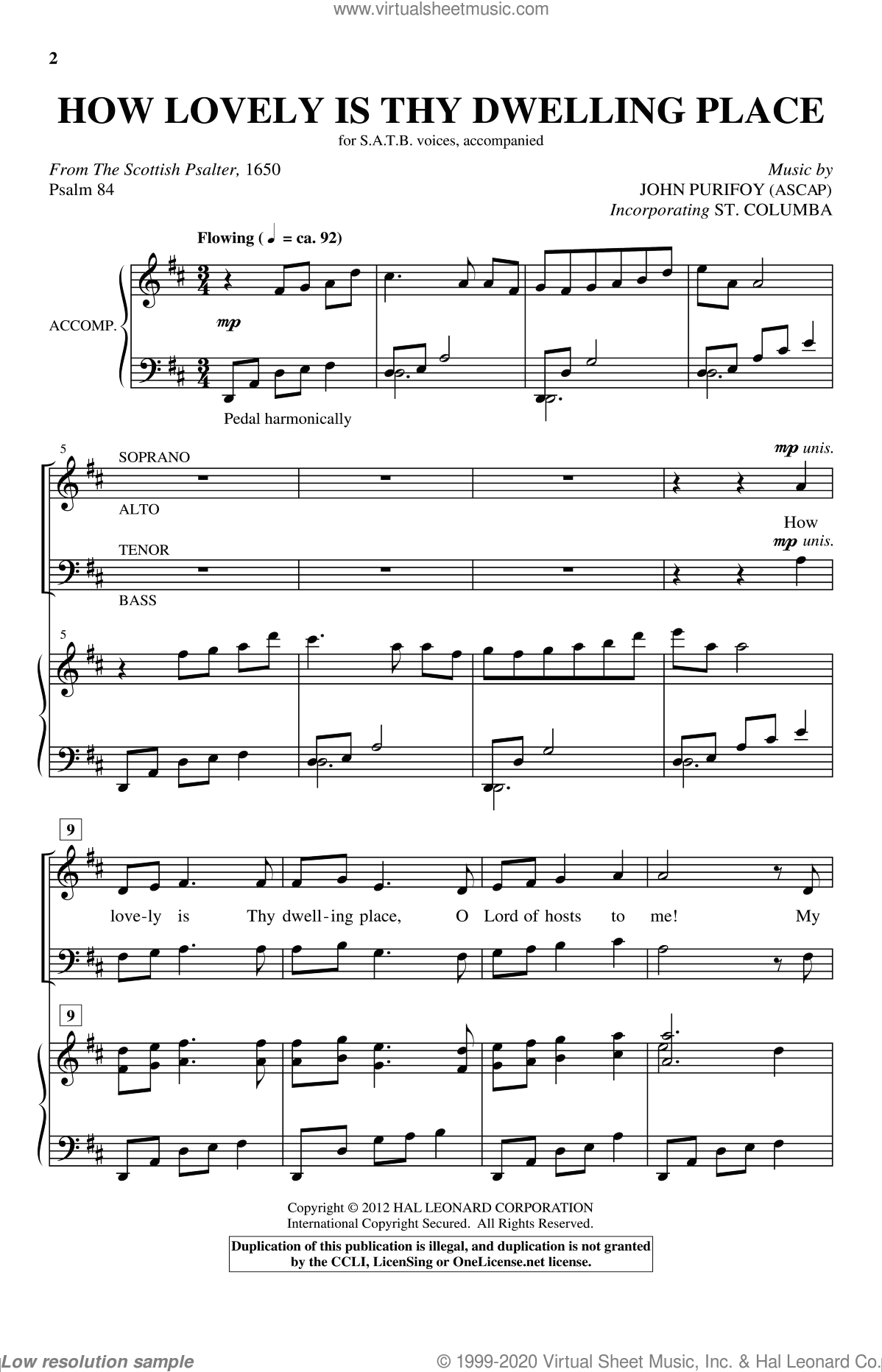 How Lovely Is Thy Dwelling Place sheet music for choir (SATB: soprano, alto, tenor, bass) by John Purifoy and Scottish Psalter, intermediate. Score Image Preview.