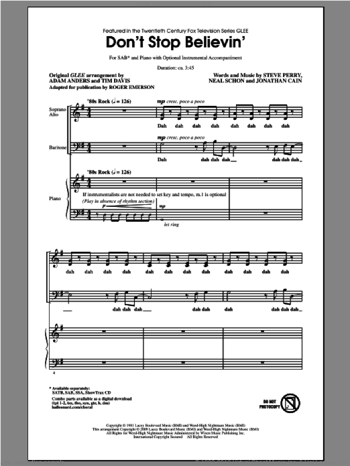 Don't Stop Believin' sheet music for choir (SAB) by Roger Emerson, Glee Cast, Journey and Steve Perry. Score Image Preview.