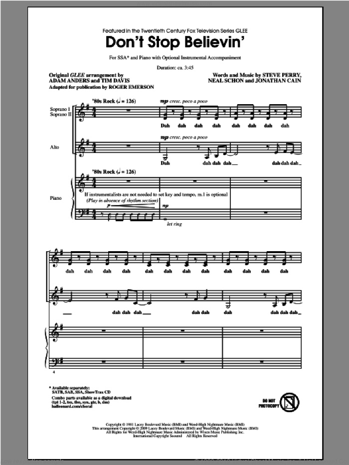 Don't Stop Believin' sheet music for choir (SSA: soprano, alto) by Roger Emerson, Glee Cast, Journey and Steve Perry, intermediate skill level