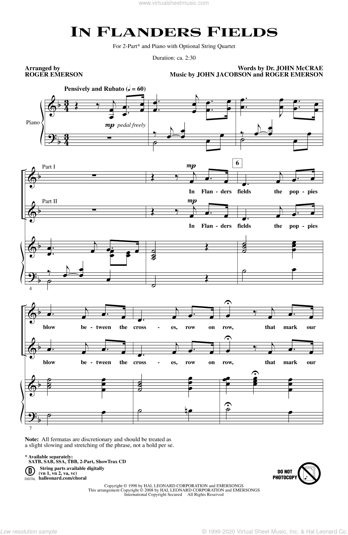 In Flanders Fields sheet music for choir and piano (duets) by Roger Emerson