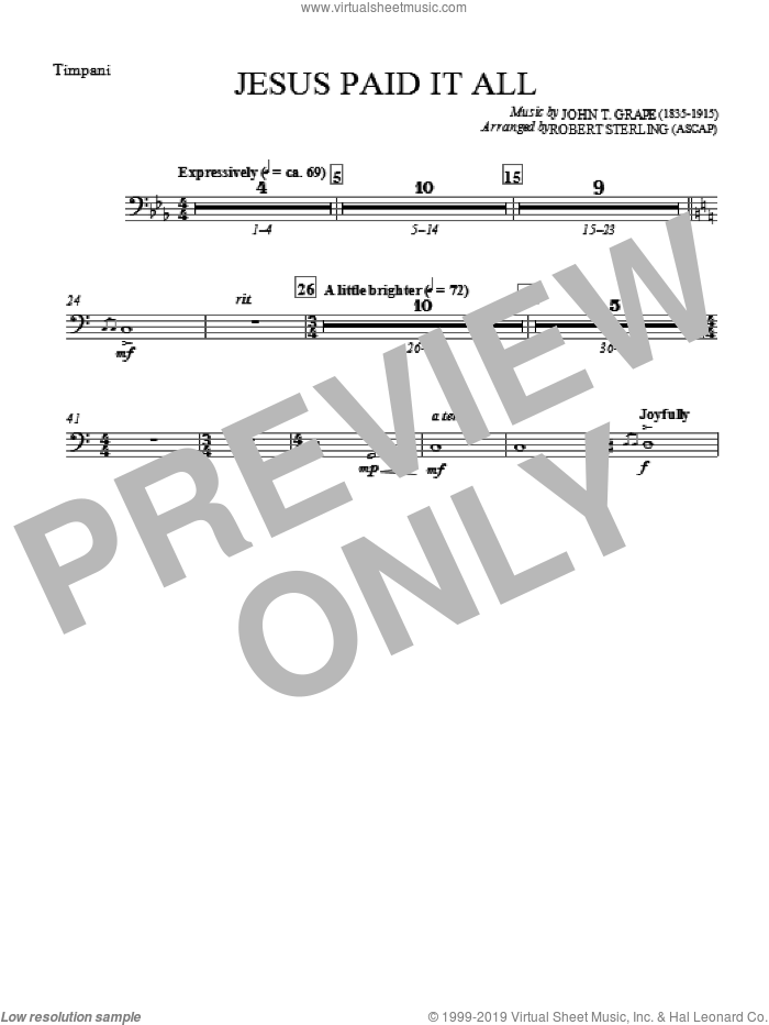 Jesus Paid It All sheet music for orchestra/band (timpani) by Robert Sterling