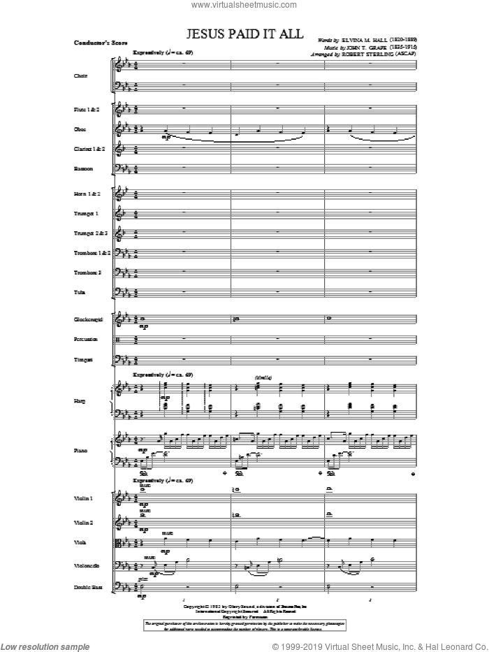 Jesus Paid It All (complete set of parts) sheet music for orchestra/band by Robert Sterling, intermediate. Score Image Preview.