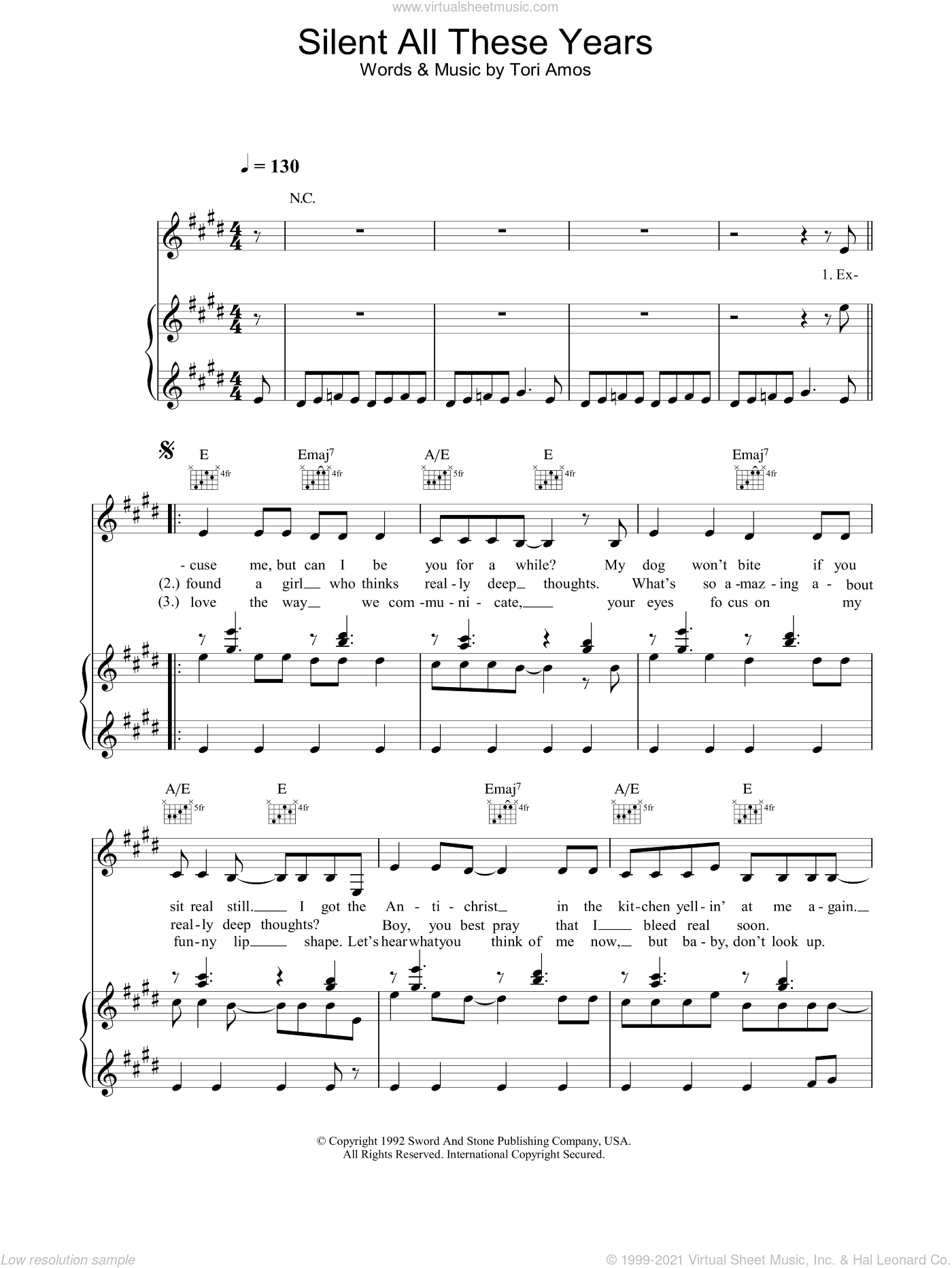 Silent All These Years sheet music for voice, piano or guitar by Tori Amos, intermediate skill level