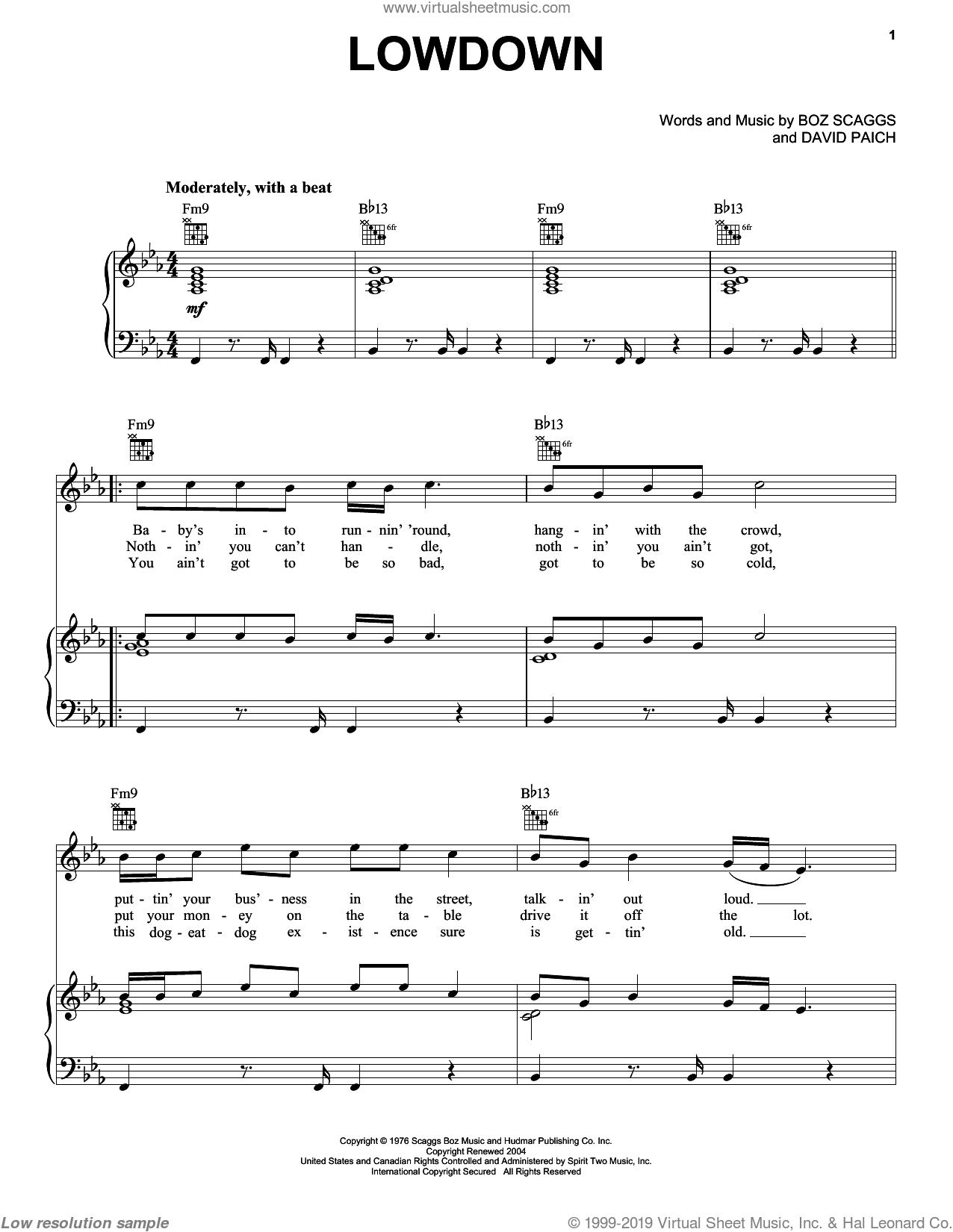 Lowdown sheet music for voice, piano or guitar by Boz Scaggs and David Paich, intermediate skill level