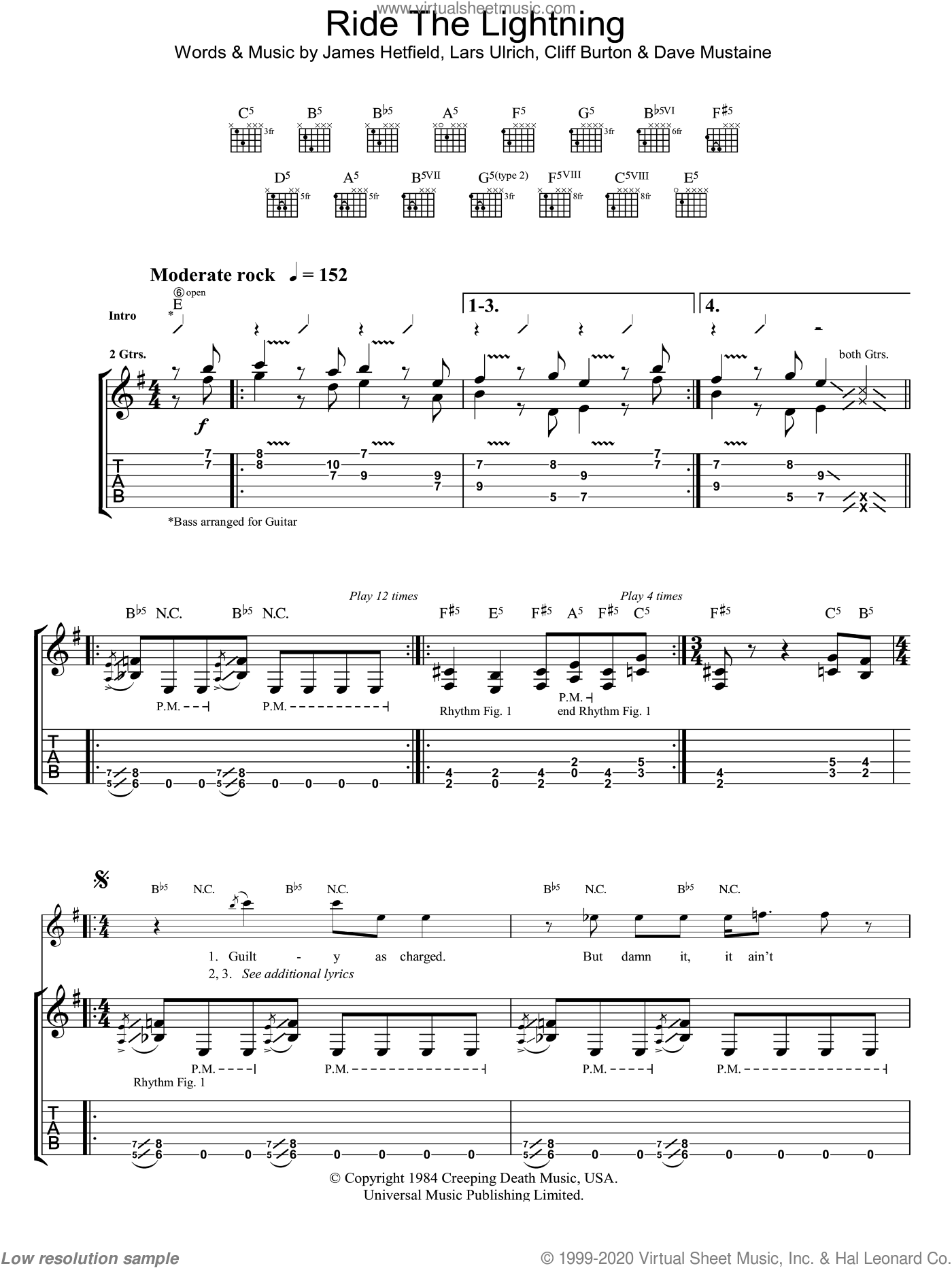 Ride The Lightning sheet music for guitar (tablature) by Metallica, Cliff Burton, Dave Mustaine, James Hetfield and Lars Ulrich, intermediate. Score Image Preview.