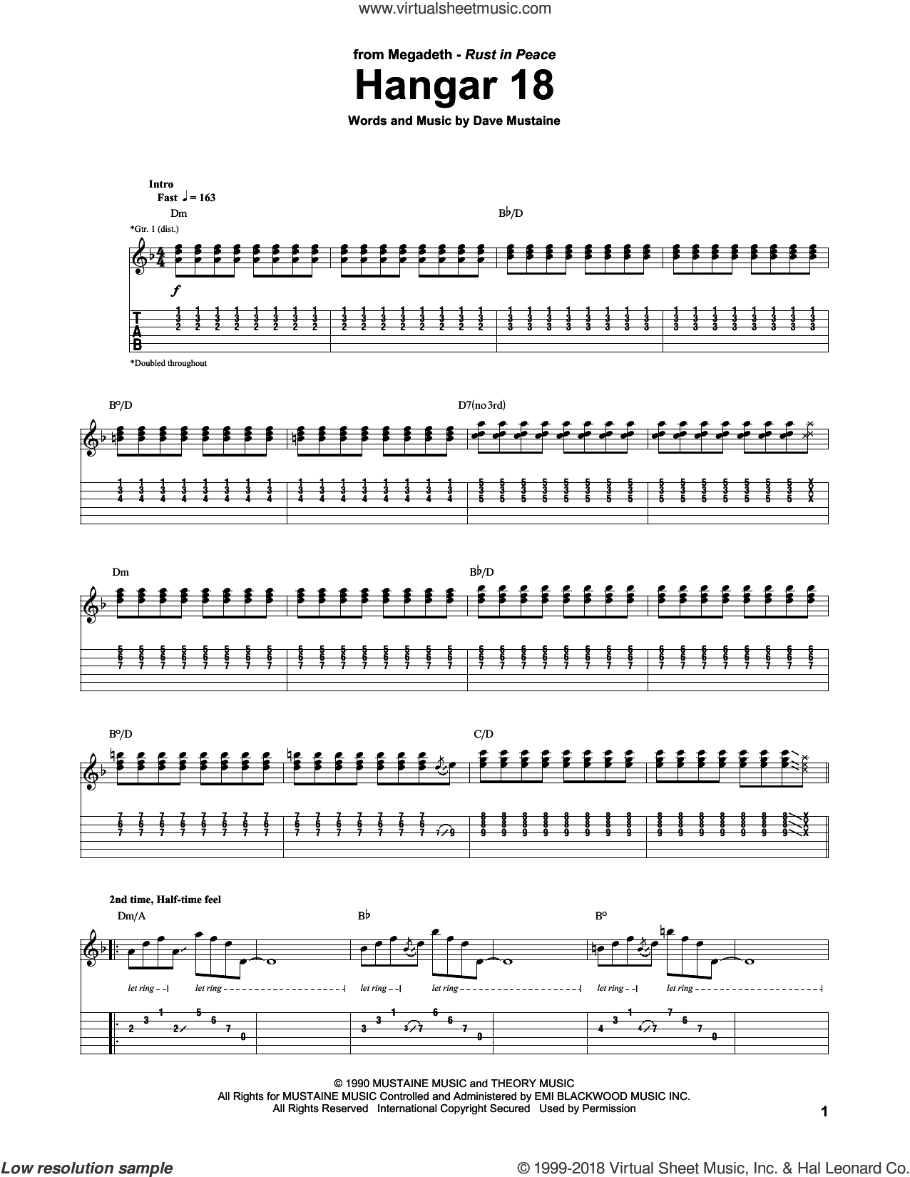 Hangar 18 sheet music for guitar (tablature) by Dave Mustaine and Megadeth. Score Image Preview.