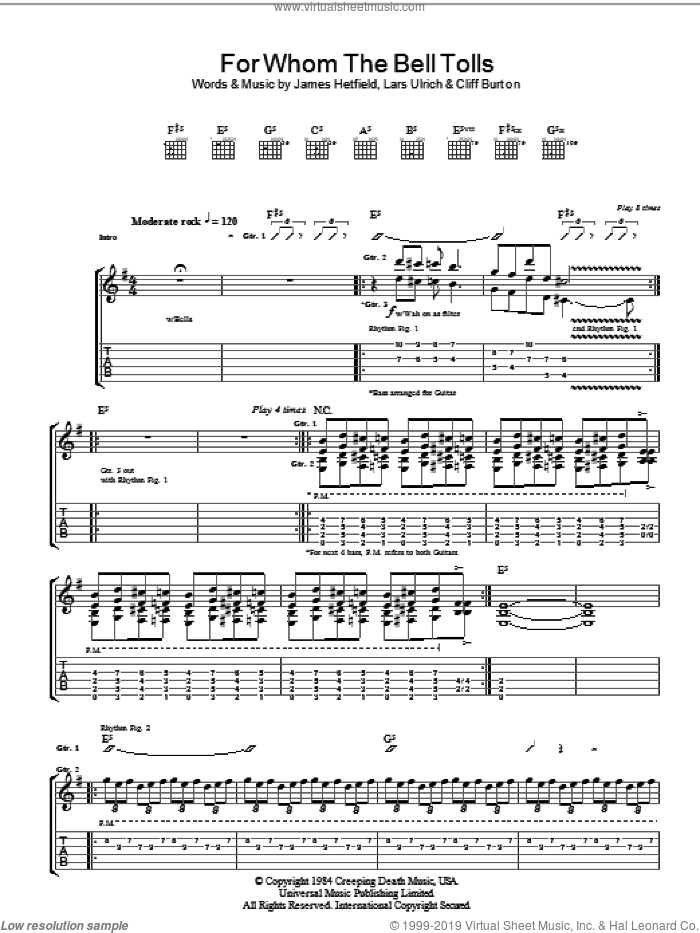 For Whom The Bell Tolls sheet music for guitar (tablature) by Lars Ulrich, Cliff Burton and James Hetfield. Score Image Preview.