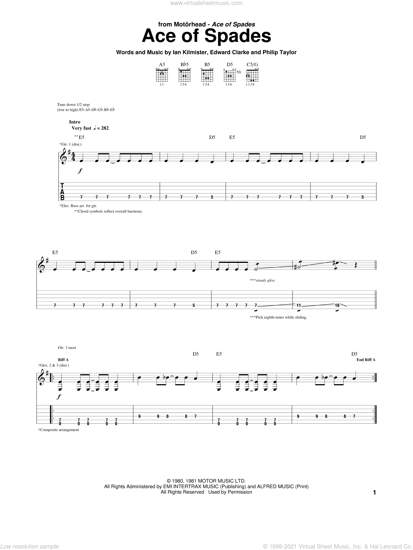 Ace Of Spades sheet music for guitar (tablature) by Motorhead. Score Image Preview.