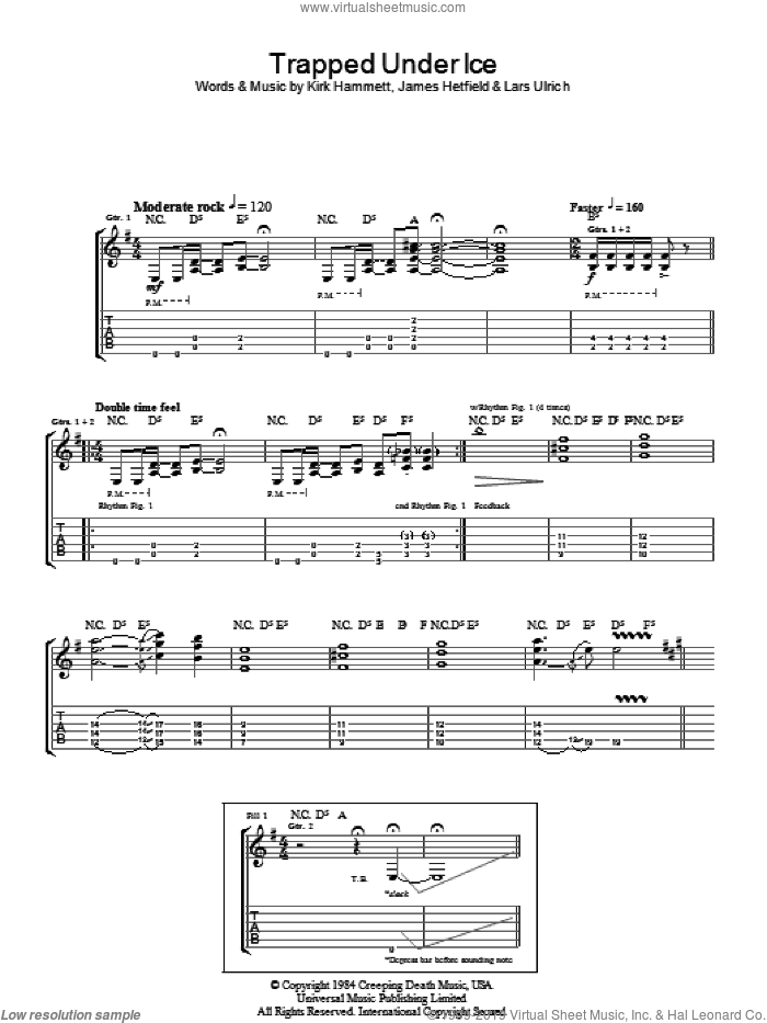 Trapped Under Ice sheet music for guitar (tablature) by Lars Ulrich and James Hetfield. Score Image Preview.