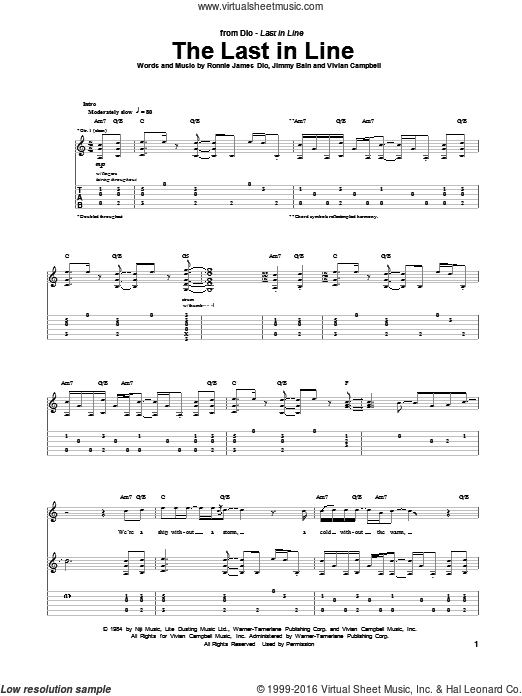 The Last In Line sheet music for guitar (tablature) by Dio and Ronnie James Dio, intermediate skill level