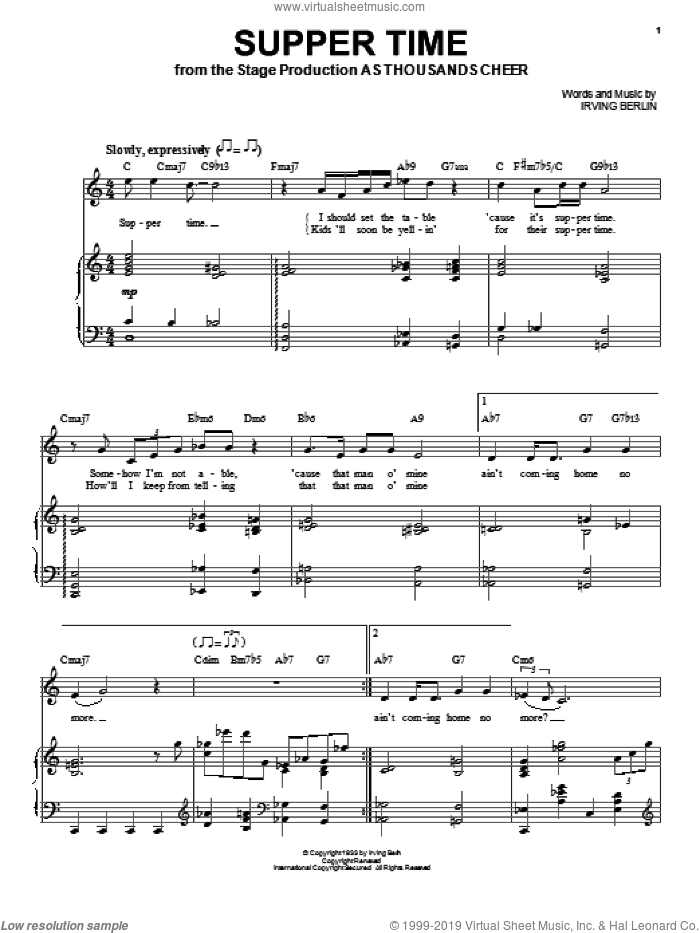 Supper Time sheet music for voice and piano by Audra McDonald and Irving Berlin, intermediate skill level
