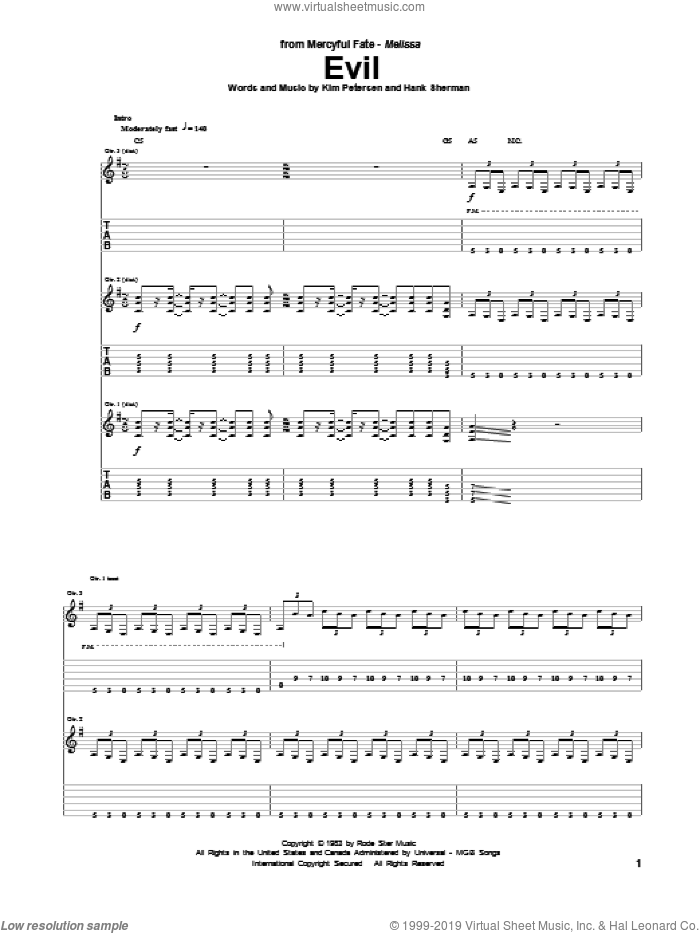 Evil sheet music for guitar (tablature) by Mercyful Fate, intermediate skill level