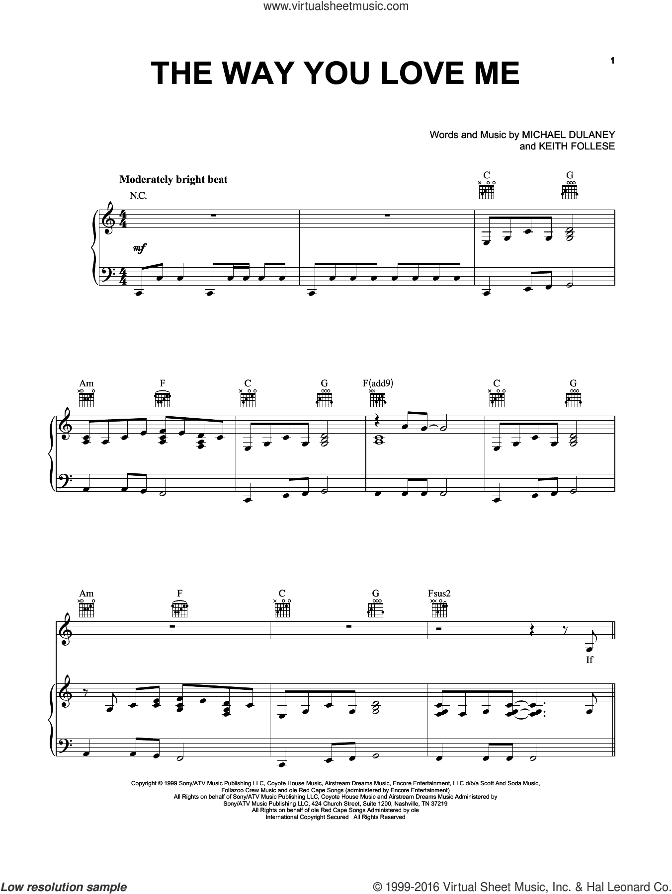 The Way You Love Me sheet music for voice, piano or guitar by Michael Dulaney, Faith Hill and Keith Follese. Score Image Preview.