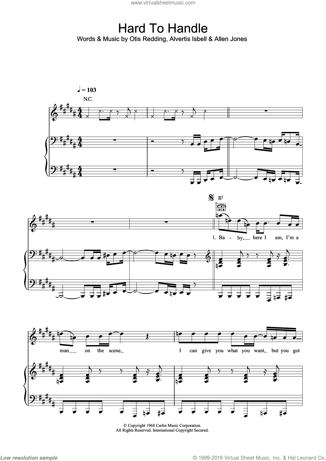 Hard To Handle sheet music for voice, piano or guitar by Alvertis Isbell