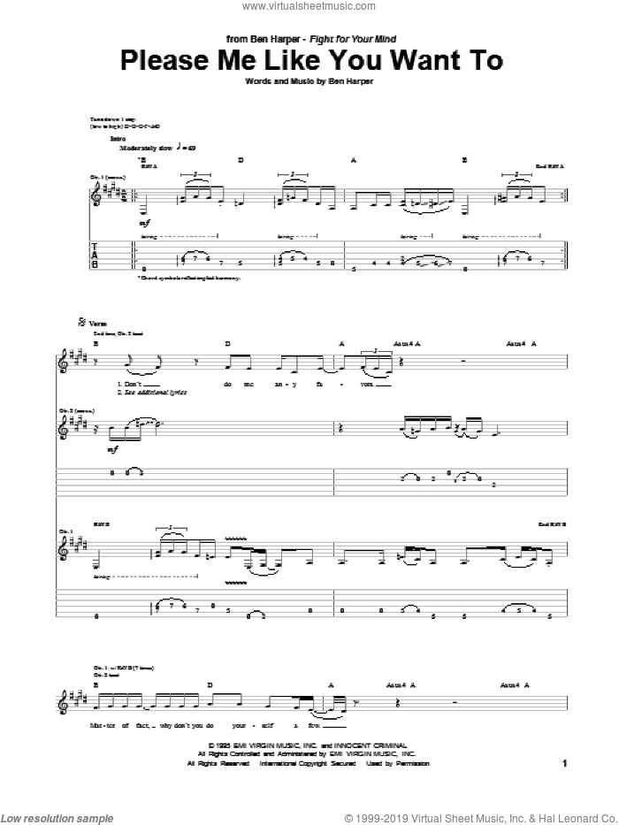 Please Me Like You Want To sheet music for guitar (tablature) by Ben Harper. Score Image Preview.