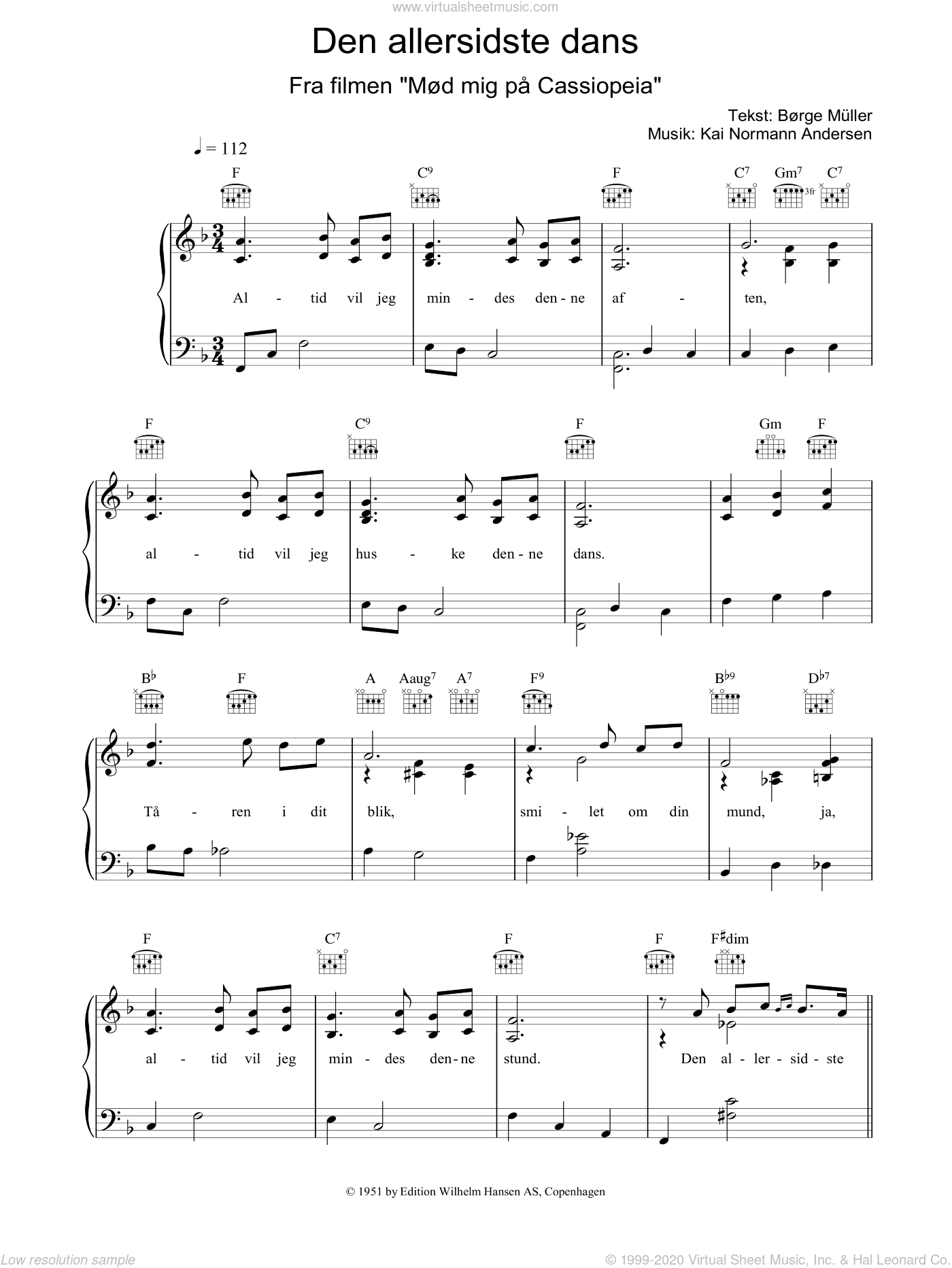 Den Allersidste Dans sheet music for voice, piano or guitar by Kai Normann Andersen. Score Image Preview.