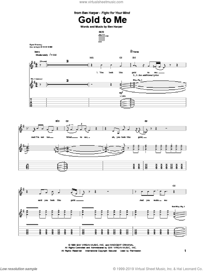 Gold To Me sheet music for guitar (tablature) by Ben Harper, intermediate