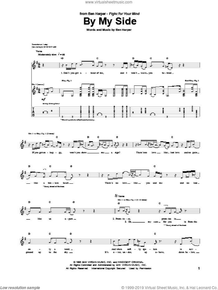 By My Side sheet music for guitar (tablature) by Ben Harper, intermediate skill level