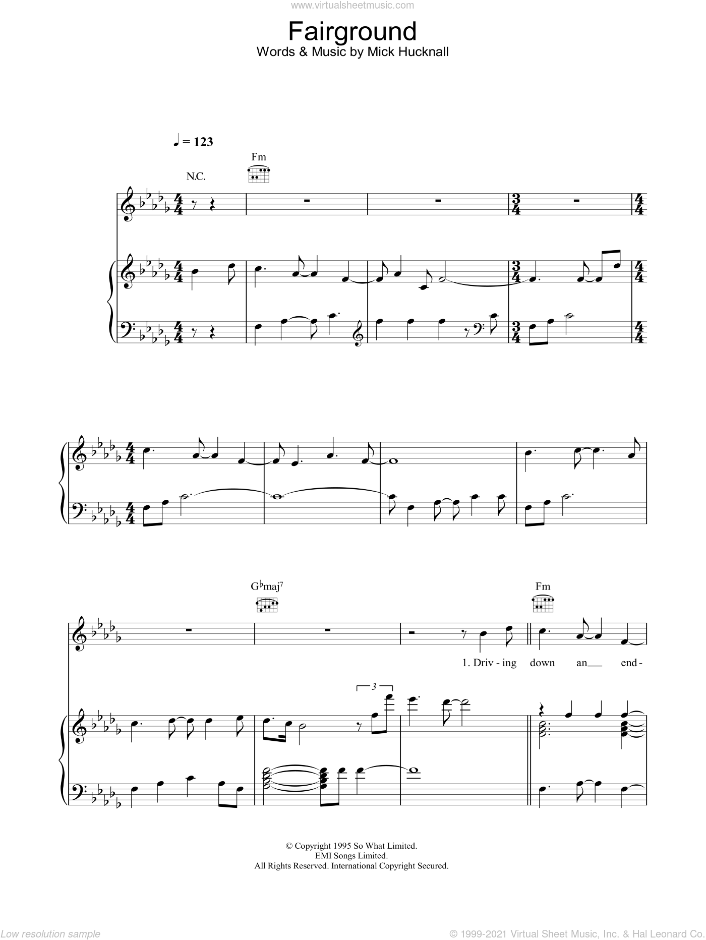 Fairground sheet music for voice, piano or guitar by Simply Red and Mick Hucknall, intermediate skill level