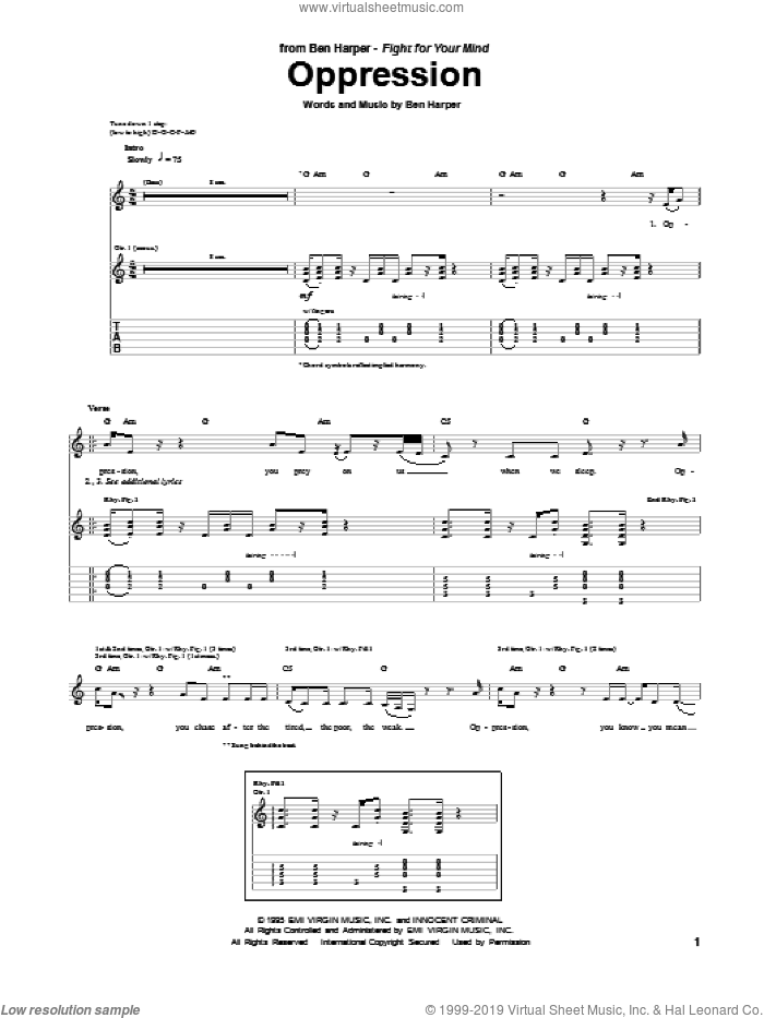 Oppression sheet music for guitar (tablature) by Ben Harper, intermediate guitar (tablature). Score Image Preview.