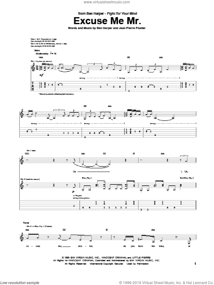 Excuse Me Mr. sheet music for guitar (tablature) by Ben Harper. Score Image Preview.