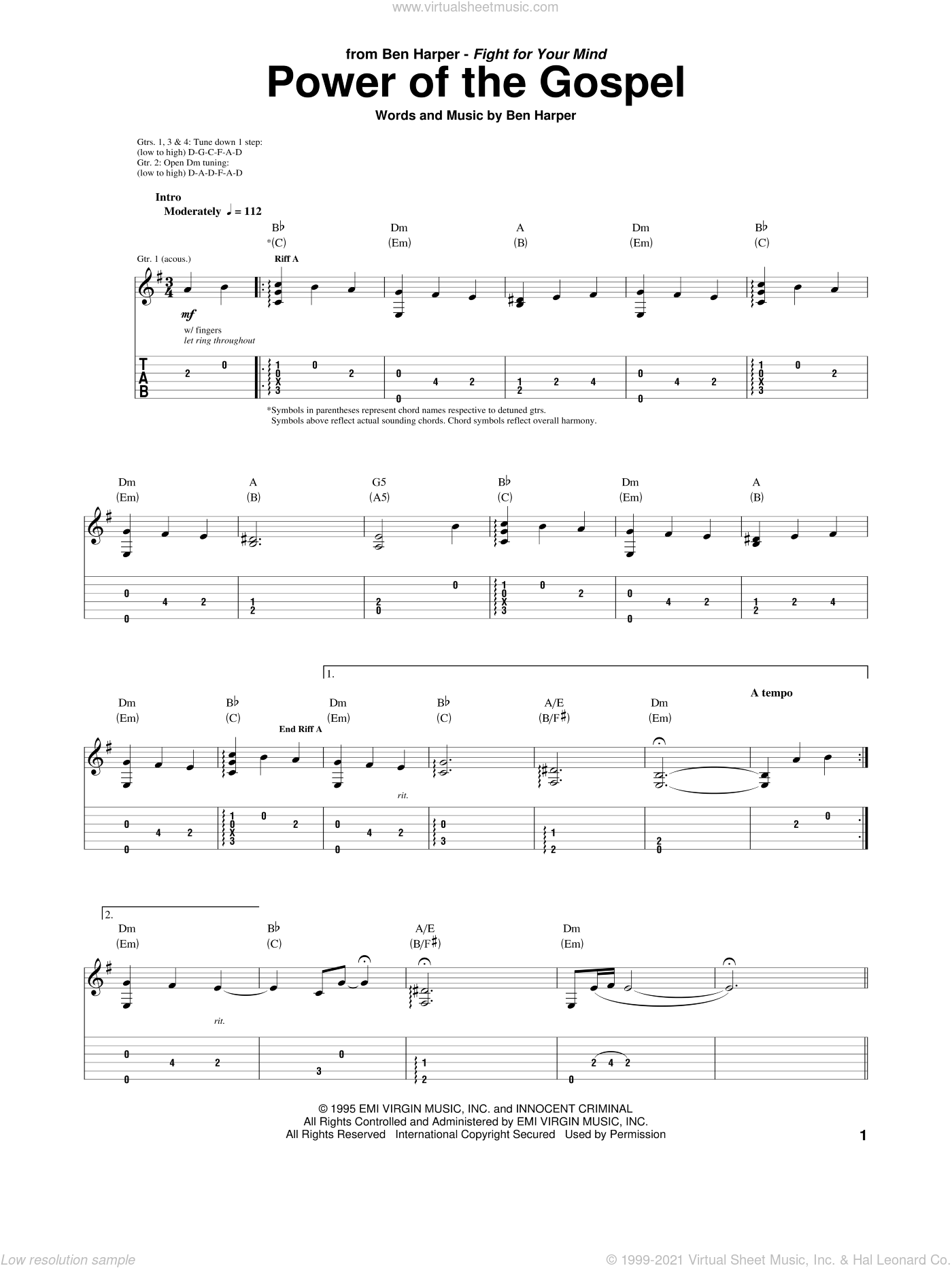 Power Of The Gospel sheet music for guitar (tablature) by Ben Harper, intermediate. Score Image Preview.