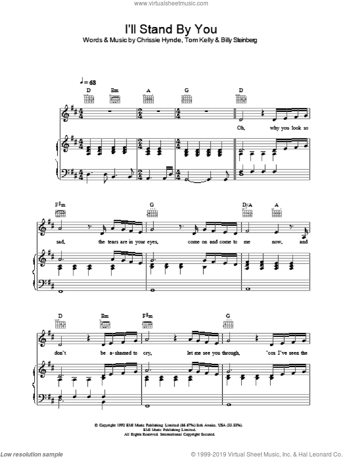 I'll Stand By You sheet music for voice, piano or guitar by The Pretenders, Miscellaneous, Billy Steinberg, Chrissie Hynde and Tom Kelly, intermediate skill level