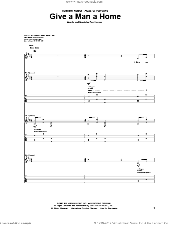 Give A Man A Home sheet music for guitar (tablature) by Ben Harper. Score Image Preview.
