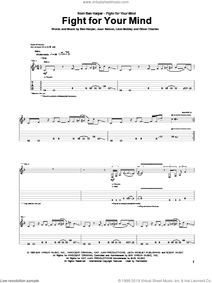Fight For Your Mind sheet music for guitar (tablature) by Ben Harper, intermediate guitar (tablature). Score Image Preview.