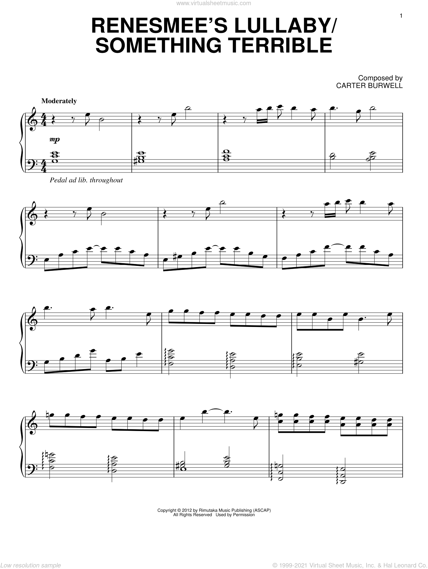 Renesmee's Lullaby/Something Terrible sheet music for piano solo by Carter Burwell and Twilight: Breaking Dawn Part 2 (Movie), intermediate. Score Image Preview.