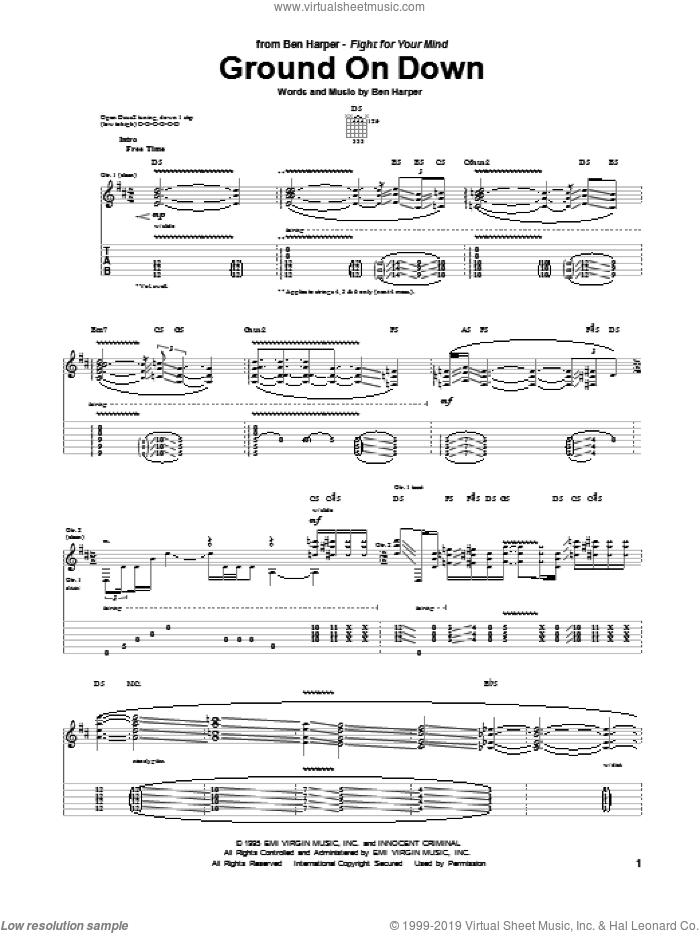 Ground On Down sheet music for guitar (tablature) by Ben Harper. Score Image Preview.