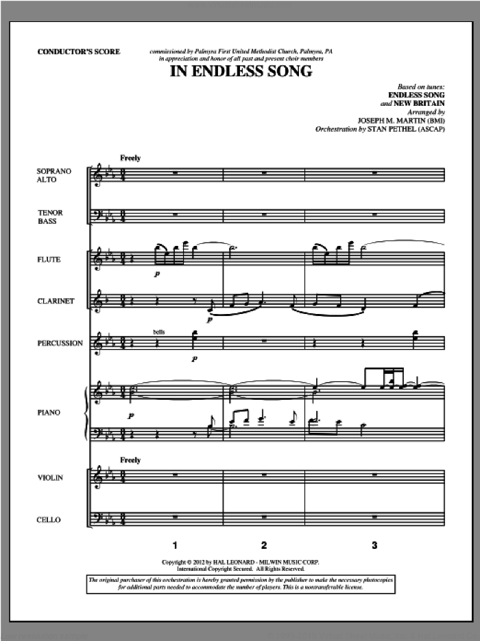 In Endless Song (complete set of parts) sheet music for orchestra/band (Orchestra) by Joseph Martin and Joseph M. Martin, intermediate. Score Image Preview.